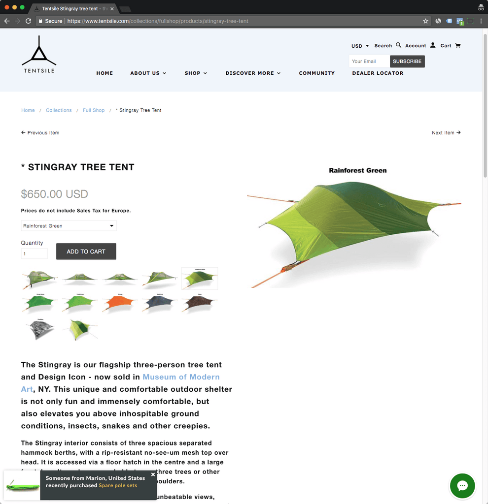 tentsile product page