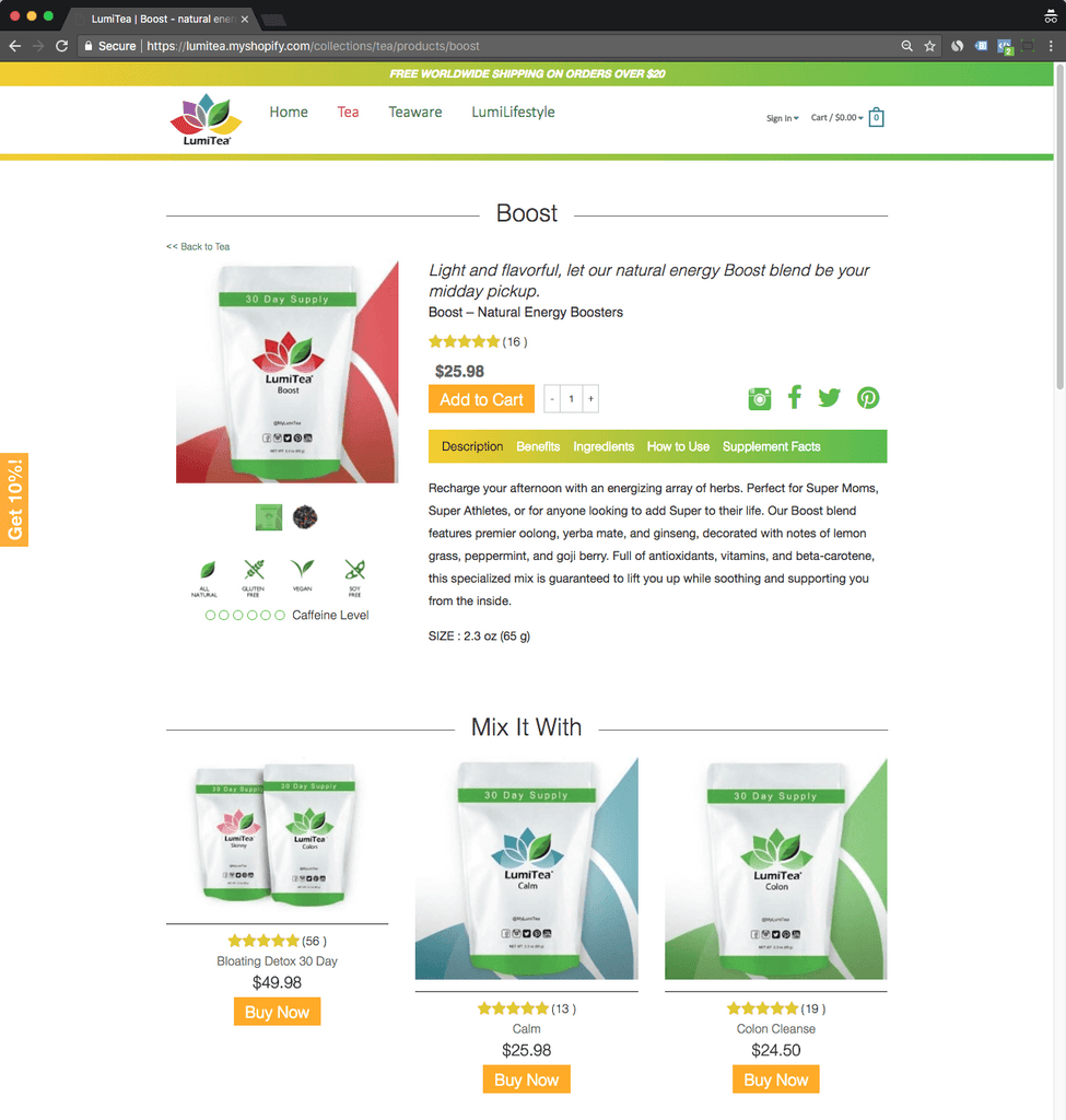 lumitea product page