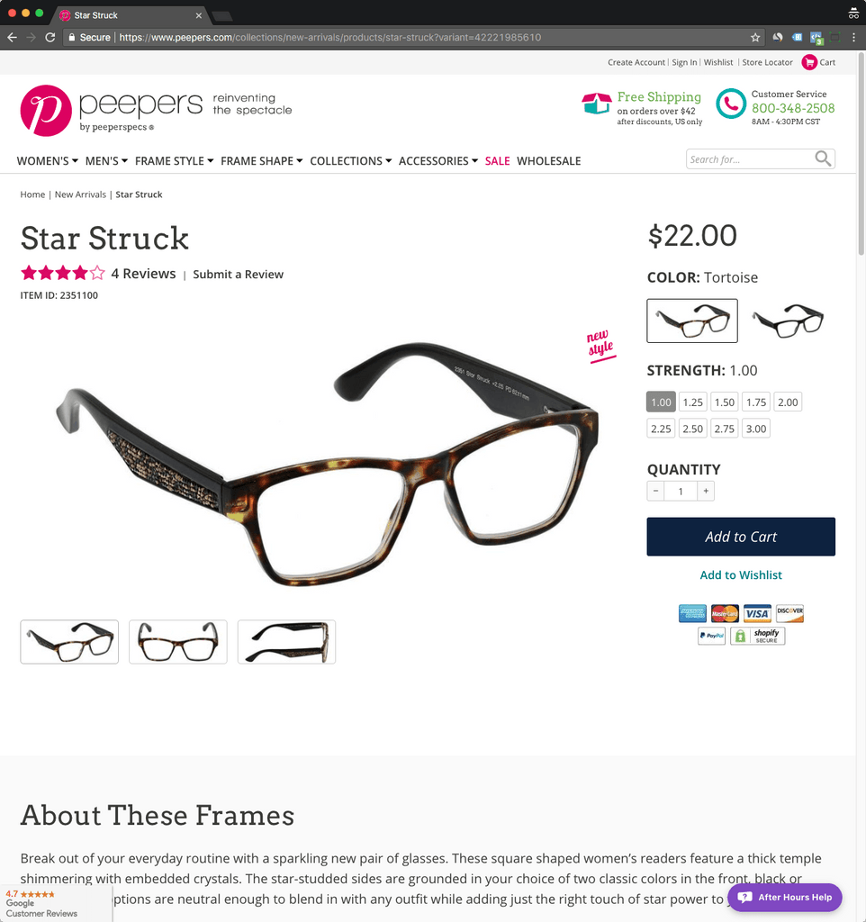 peepers product page
