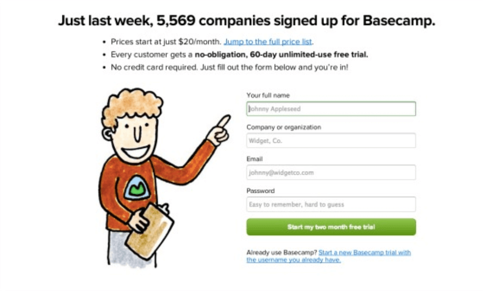 Shopify conversion rate optimization: Basecamp call to action case study