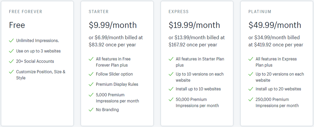 Social Sharing Buttons Pricing