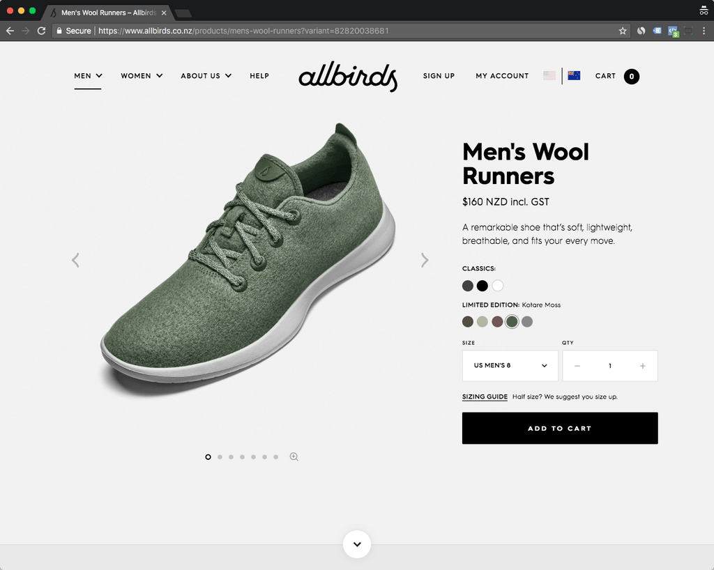 allbirds product page