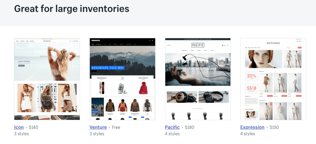large inventory shopify shops
