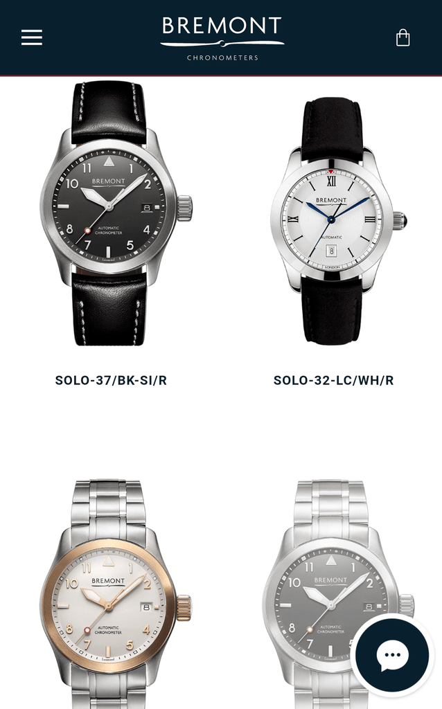 Bremont Mobile Product Page