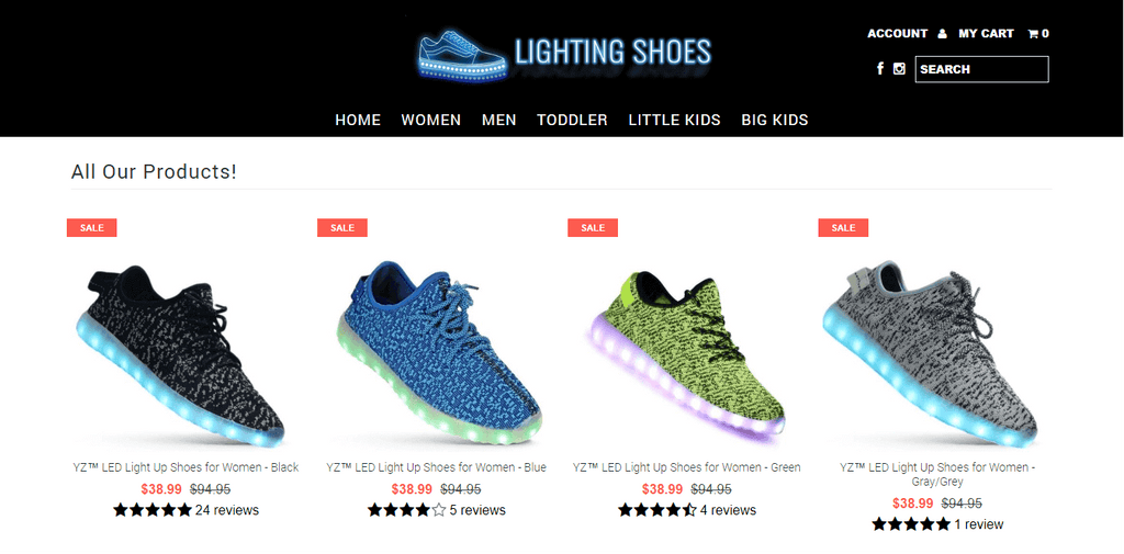 Lighting Shoes Home Page