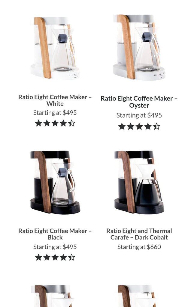 Ratio Coffee Mobile Page