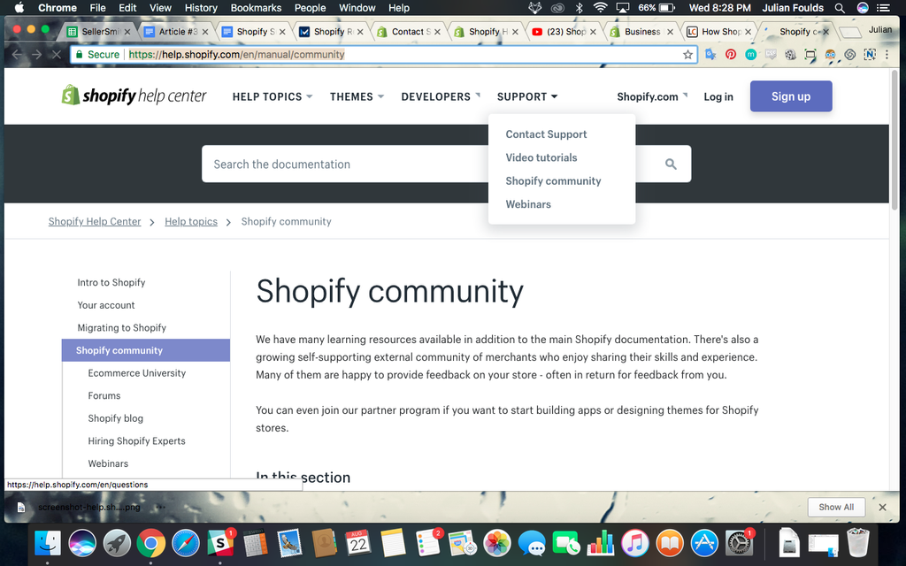 shopify support menu