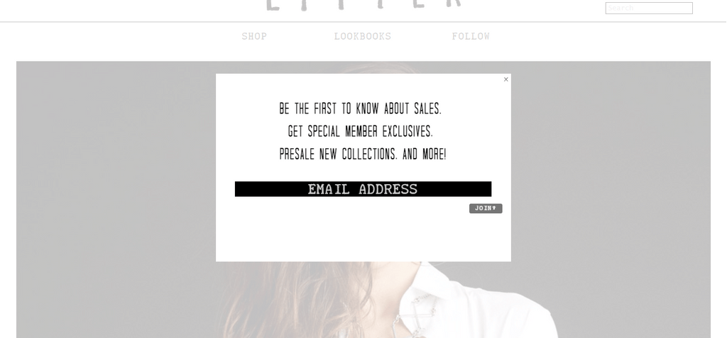 LITTER email pop up