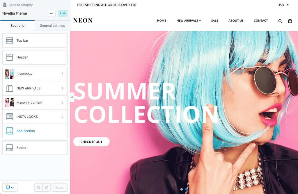 nivellia-shopify-theme-neon-style-sections