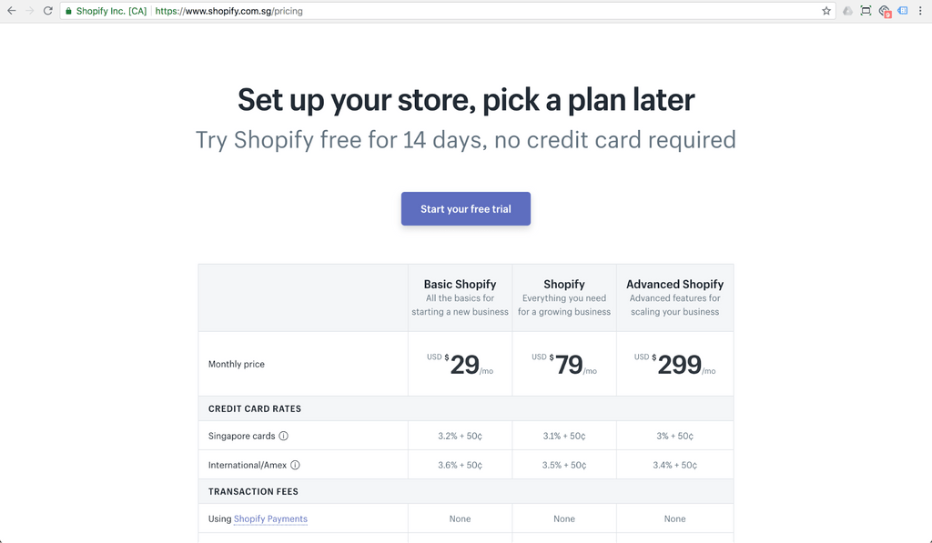 shopify pricing for singapore merchants