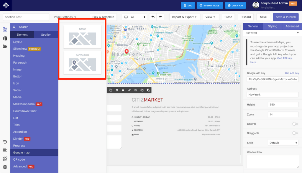 advanced google map element in pagefly shopify page app