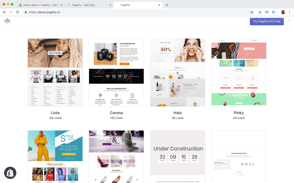pagefly templates demo showcase