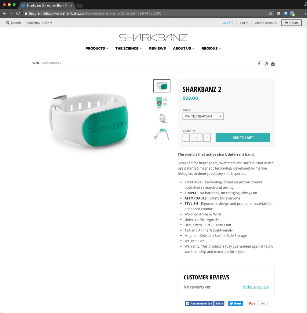 Sharkbanz Shopify product page