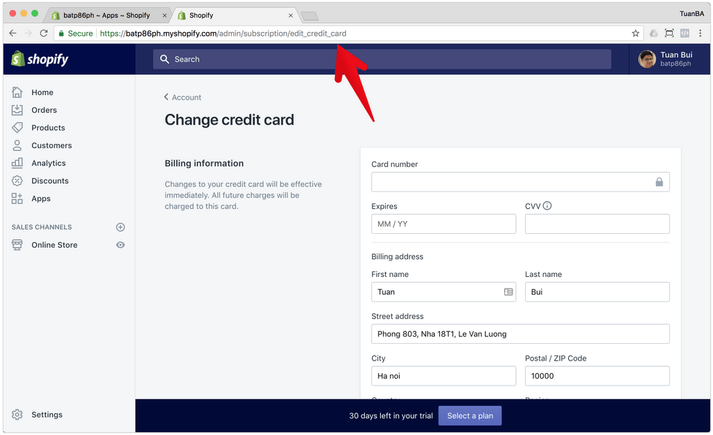 upgrade the credit card on shopify for the paid plan