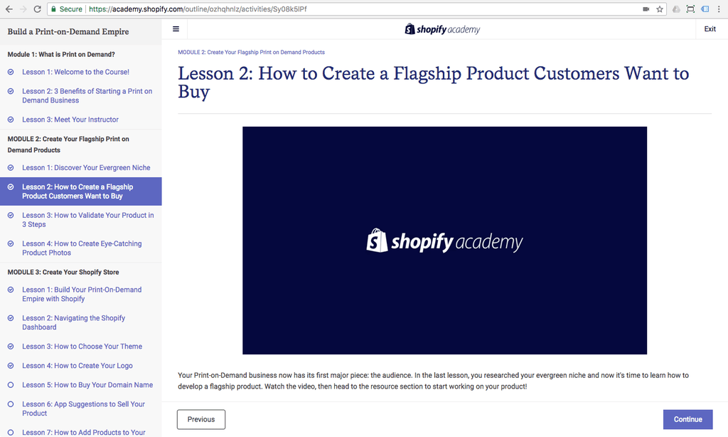 lesson 2 pod shopify academy course