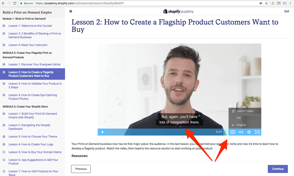 closed caption of shopify course