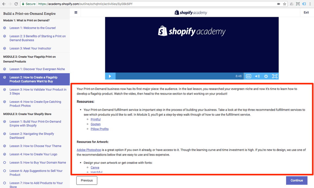 shopify academy course content