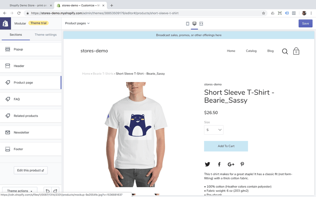 short sleeve t shirt product pages demo