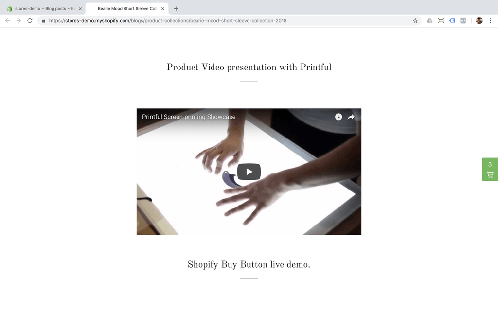 adding the video from youtube to shopify