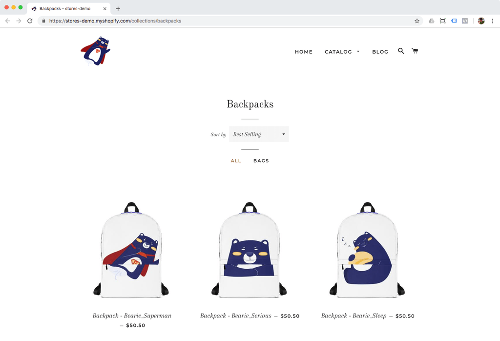 backpack shopify demo collection
