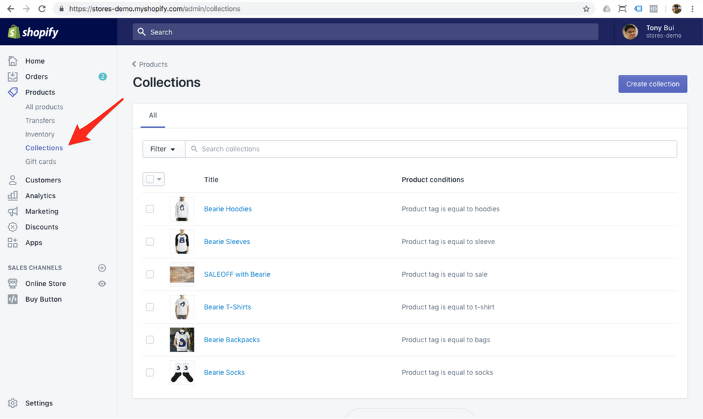 shopify collections demo