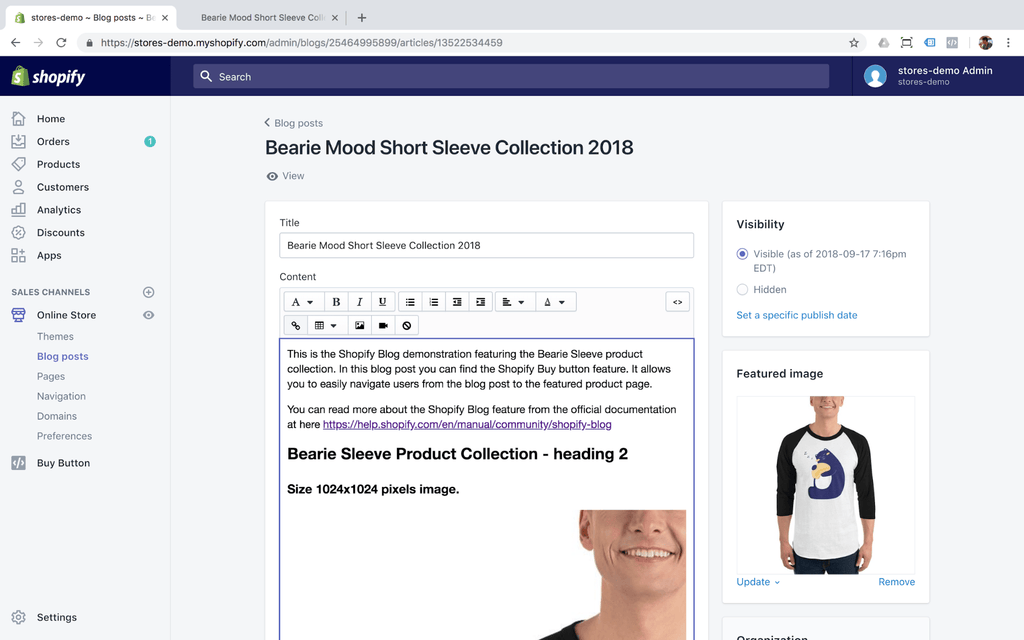 Shopify blog feature