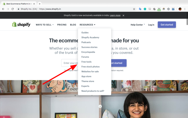 shopify india homepage