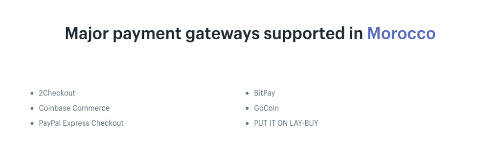 morrocan shopify gateways