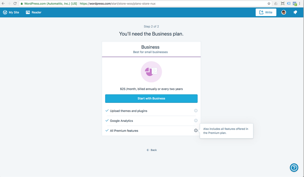 wordpress hosting business plan features