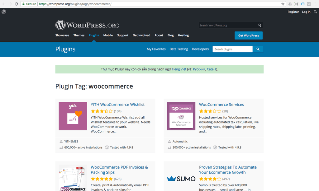 woocommerce extensions on wordpress directory