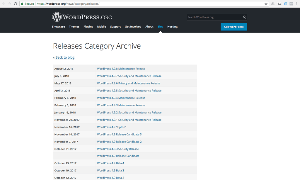 wordpress change log