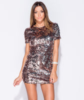 Rose Gold Two Tone Sequin Dress