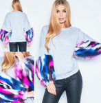 Oversized Slouch Sweatshirt With Multi Coloured Fur Sleeves