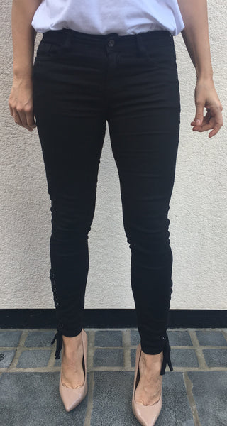 Black Lace Up Side Jean
