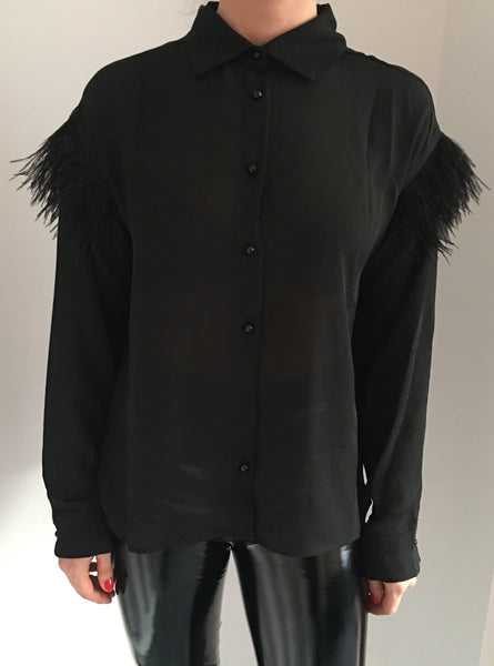 Feather Shoulder Sheer Blouse