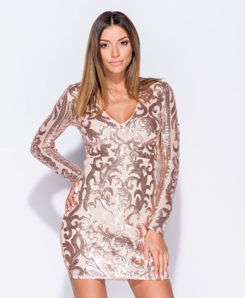 Nude Sequin Detail Dress