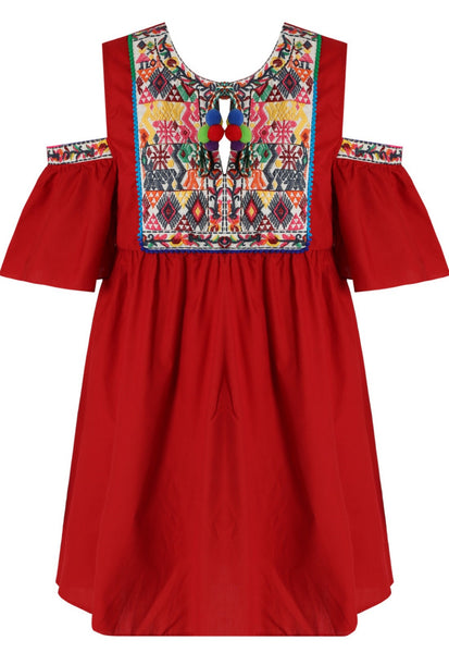 Embroidered Red Cold Shoulder Dress