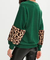 Green Leopard Faux Fur Sleeve Jumper