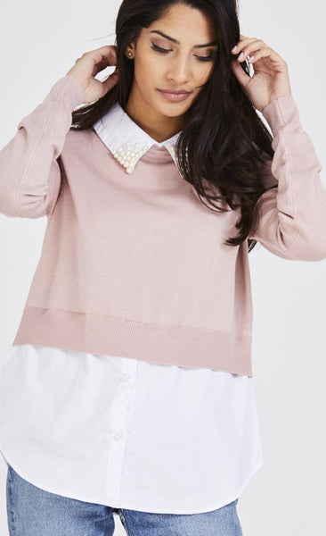 Pearl Embellished Shirt Jumper