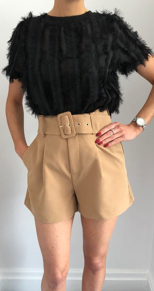 Camel High Waisted Belted Shorts