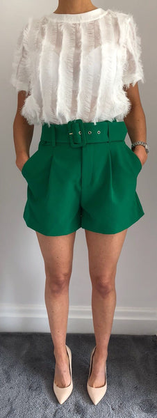 Green High Waisted Belted Shorts