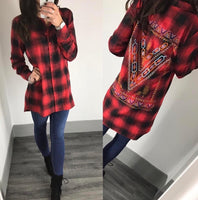 Tartan Print Embroidered Back