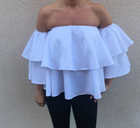 White Layered Bandeau Top