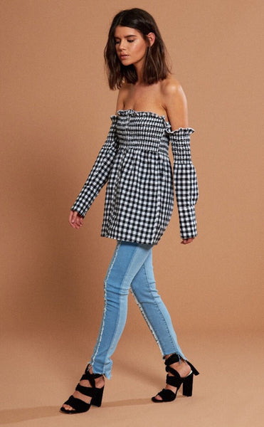 Shirred Gingham Bardot Shirt