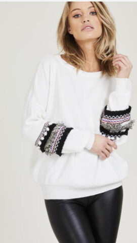 Mayan Cream Detailed Sleeve Jumper