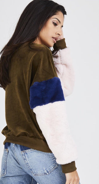 Panelled Faux Fur Sleeve Velour Jumper