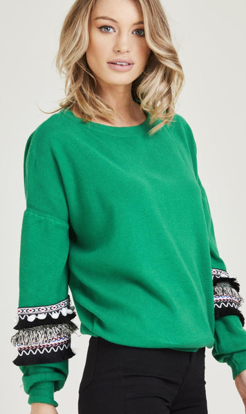Mayan Green Detailed Sleeve Jumper