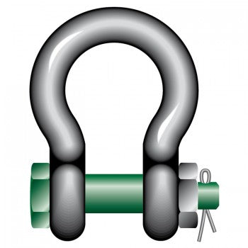 Green Pin Safety Bow Shackles with Bolt and Safety Nut Ref: 269-4 - Hoistshop