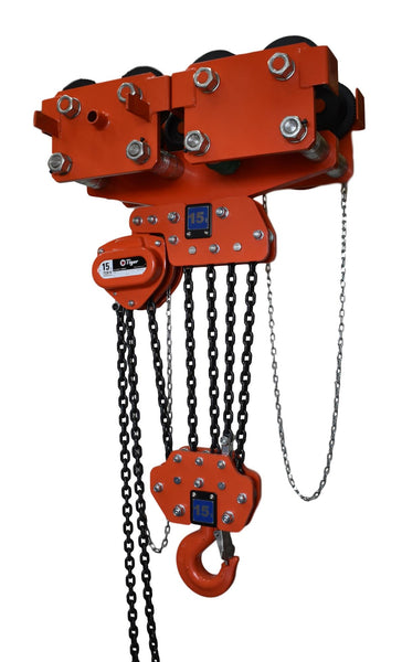 TIGER COMBINED CHAIN BLOCK & GEARED TRAVEL TROLLEY, 5.0t CAPACITY MODEL CCBTGS (231-6) - 106-194mm - Hoistshop