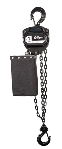 TIGER CHAIN BLOCK BCB14 IN BLACK FINISH, 0.5t CAPACITY WITH CHAIN BAG Ref: 220-5 - Hoistshop